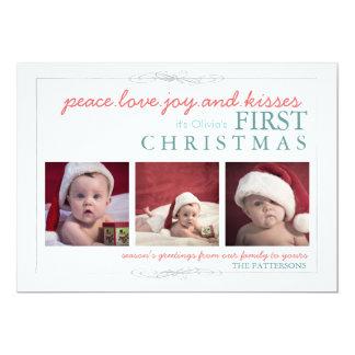Tarjeta de la foto del navidad del bebé de la invitación personalizada