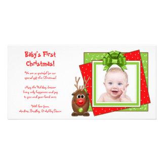 Tarjeta de la foto del navidad del bebé del reno d tarjeta personal con foto