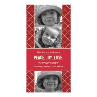 Tarjeta de la foto del navidad del enrejado del dí tarjeta fotográfica