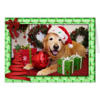 Tarjeta de la foto del navidad del golden retrieve