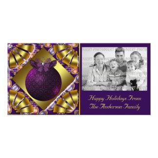 Tarjeta de la foto del navidad del ornamento de la tarjeta fotográfica