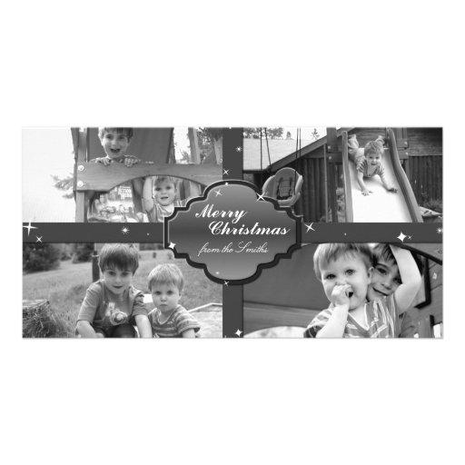 Tarjeta de la foto del navidad - estrellas del tarjetas fotográficas