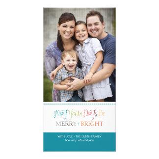 Tarjeta de la foto del navidad - feliz y brillante tarjetas fotograficas personalizadas