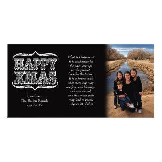 Tarjeta de la foto del navidad negro y blanco del  tarjetas fotograficas