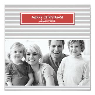 """Tarjeta de la foto del navidad - rayas - invitación 5.25"""" x 5.25"""""""