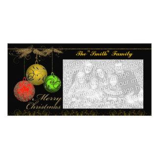 Tarjeta de la foto del ornamento del día de fiesta tarjetas con fotos personalizadas