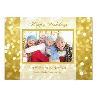 Tarjeta de la foto del oro el | del día de fiesta invitación 12,7 x 17,8 cm