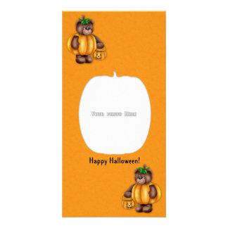 Tarjeta de la foto del oso de la calabaza del feli tarjetas personales