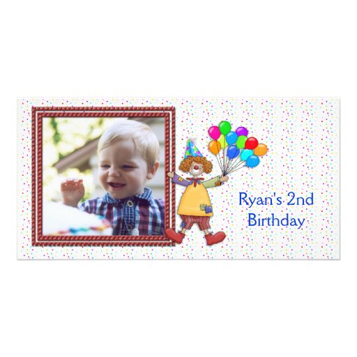 Tarjeta de la foto del payaso del cumpleaños tarjeta personal con foto