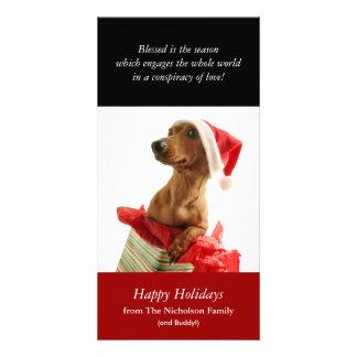 Tarjeta de la foto del perrito del día de fiesta tarjeta personal con foto