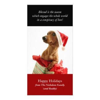 Tarjeta de la foto del perrito del día de fiesta tarjeta fotográfica