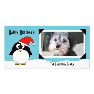 Tarjeta de la foto del pingüino del día de fiesta tarjeta fotografica personalizada