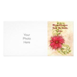 Tarjeta de la foto del Poinsettia y del acebo Tarjeta Personal