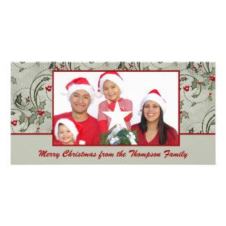 Tarjeta de la foto del remolino del acebo tarjetas con fotos personalizadas