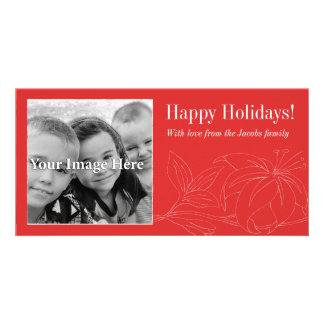 Tarjeta de la foto del rojo buenas fiestas tarjeta personal con foto