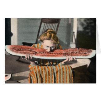 Tarjeta de la foto del vintage de la sandía