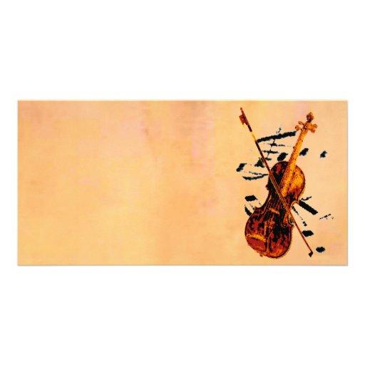Tarjeta de la foto del violín tarjeta fotográfica personalizada