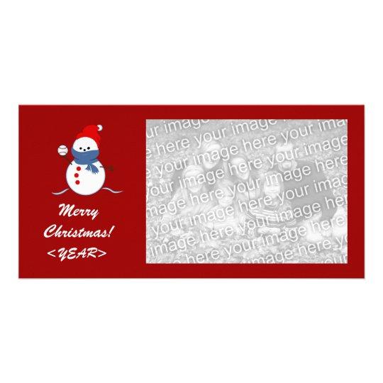 Tarjeta de la foto - muñeco de nieve del béisbol d tarjeta fotografica personalizada