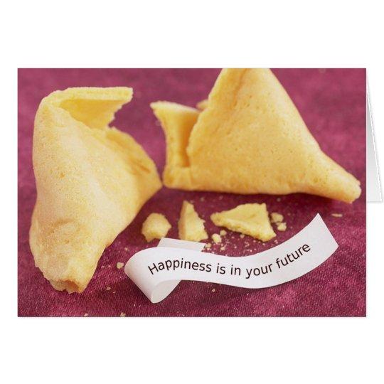 Tarjeta de la galleta de la suerte de la felicidad
