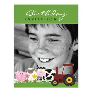 Tarjeta de la granja de la foto del cumpleaños invitación 10,8 x 13,9 cm