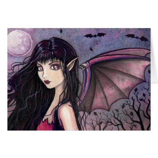 Tarjeta de la hada del vampiro de Halloween
