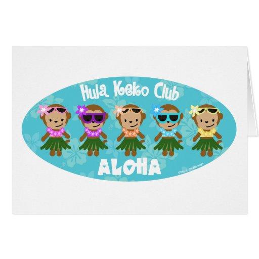 Tarjeta de la HAWAIANA del club del mono de Hula