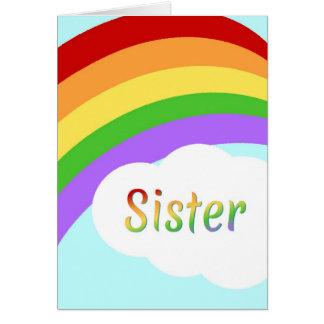 Tarjeta de la hermana con el arco iris