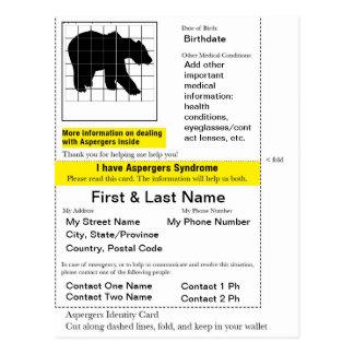 Tarjeta de la identificación de Aspergers Postal