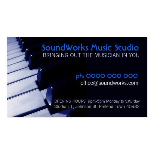 Tarjeta de la industria musical del teclado de pia tarjeta de visita