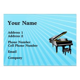 Tarjeta de la industria musical - piano - azul tarjetas de visita grandes