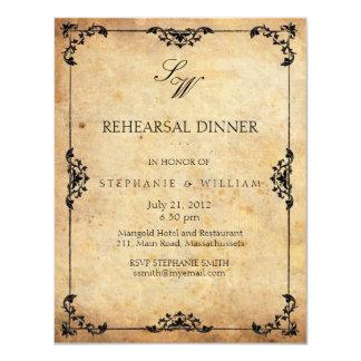 Tarjeta de la invitación de la cena del ensayo del