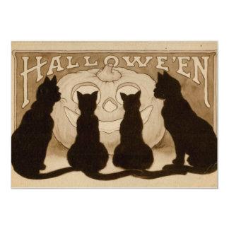 Tarjeta de la invitación de los gatos negros de
