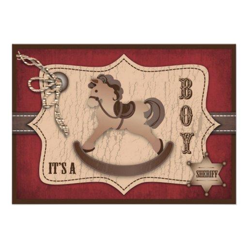 Tarjeta de la invitación del bebé del vaquero