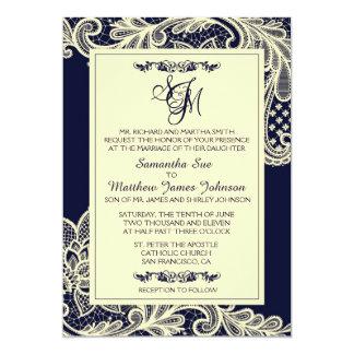 Tarjeta de la invitación del boda del cordón de la