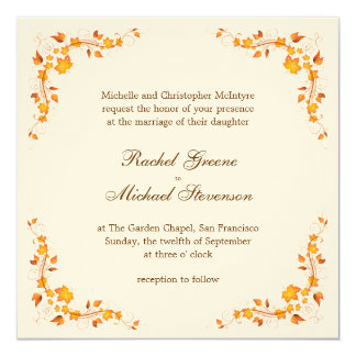 Tarjeta de la invitación del boda del follaje del