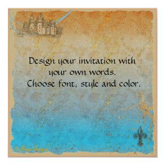 Tarjeta de la invitación del castillo del cuento