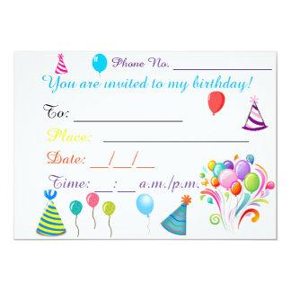 Tarjeta de la invitación del cumpleaños