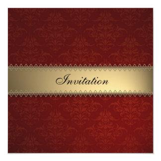 Tarjeta de la invitación del damasco de Burdeos