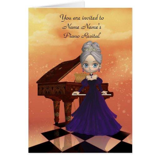 Tarjeta de la invitación del decreto del piano