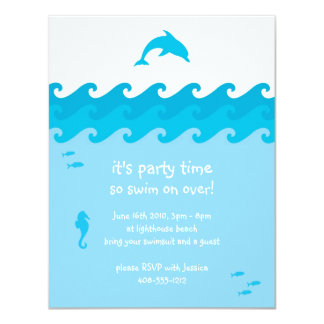 Tarjeta de la invitación del delfín y de las olas