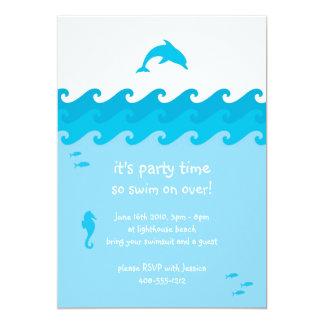 Tarjeta de la invitación del delfín y de las olas invitación 12,7 x 17,8 cm