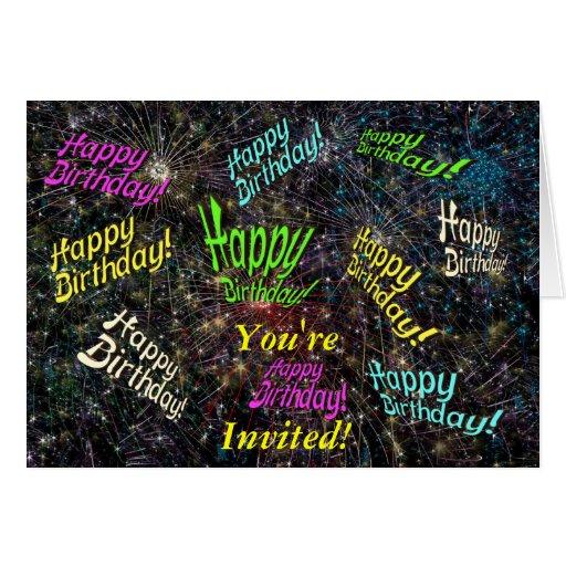 Tarjeta de la invitación del feliz cumpleaños de F