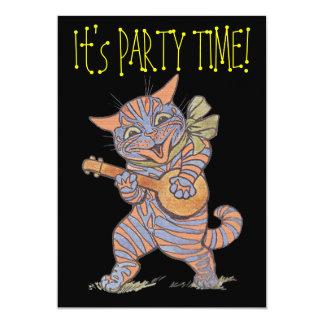 Tarjeta de la invitación del gato del fiesta