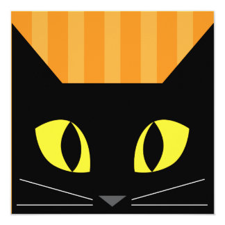 Tarjeta de la invitación del gato negro de