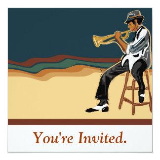 Tarjeta de la invitación del jugador del jazz