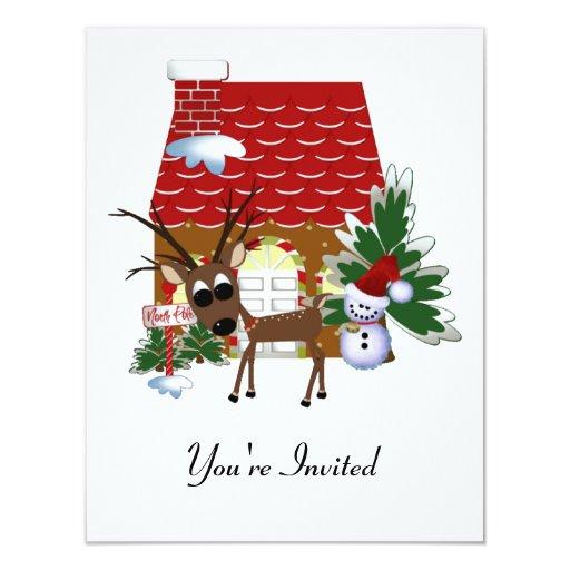 Tarjeta de la invitación del navidad del reno del invitación 10,8 x 13,9 cm