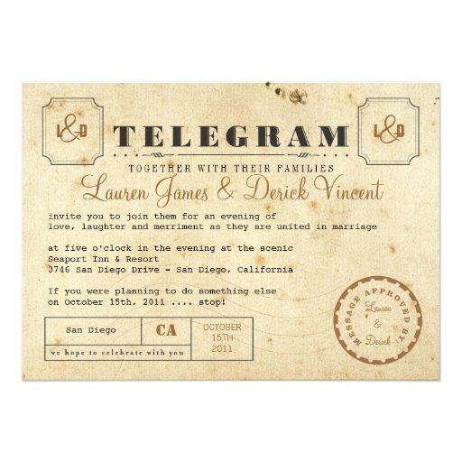 Tarjeta de la invitación del telegrama del vintage