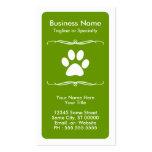 tarjeta de la lealtad de la pata del mascota de la tarjeta de visita