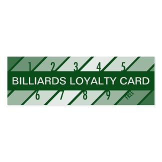 tarjeta de la lealtad de los billares (retrógrada) tarjeta de visita