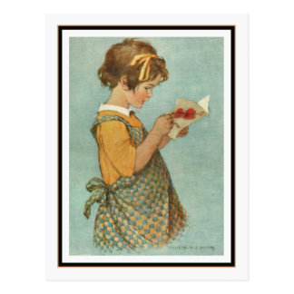 Tarjeta de la lectura del chica del vintage de Jes Tarjetas Postales